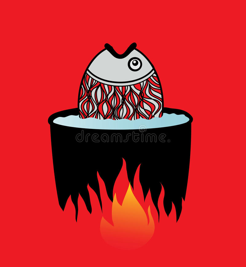 Download Fish Cooked In Water On A Fire. Stock Photos - Image: 25428213