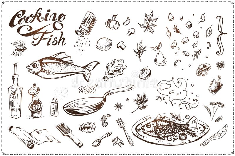 Fish cooking. Hand drawn vintage vector icons vector illustration