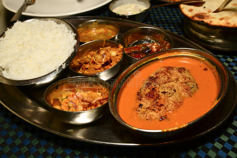 Fish Curry and rice. Indian Fish Curry with Rice royalty free stock photos