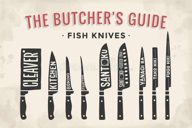 FIsh cutting knives set. Poster Butcher diagram and scheme. Fish Knives. Set of butcher fish knives for butcher shop and design butcher themes. Vintage stock illustration