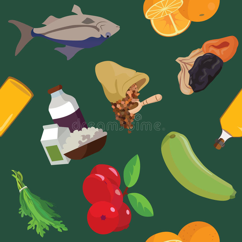 Fish, dairy products, cereals, fruits, dried fruits, berries, vegetables, greens, oil- useful products royalty free illustration