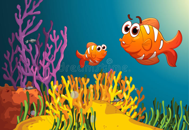 Fish in a deep water. Illustration of fish and coral in a deep water stock illustration