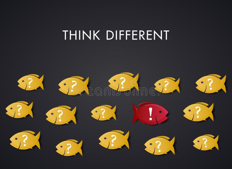 Think Different - Concept Art - Fish against the Main stream. Fish demonstrate how it is to think different. Be different! Think different! Act different royalty free illustration