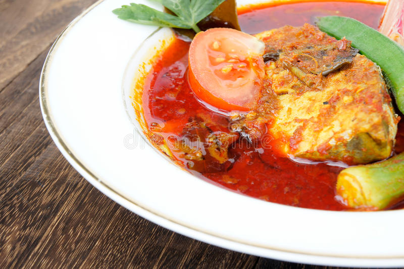 Fish dish. Called Asam Pedas. It is the famous dish among Malaysian stock photography
