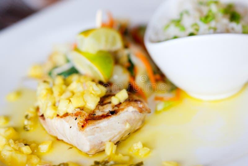 Fish dish. Close up of delicious mahi mahi fish dish stock photos