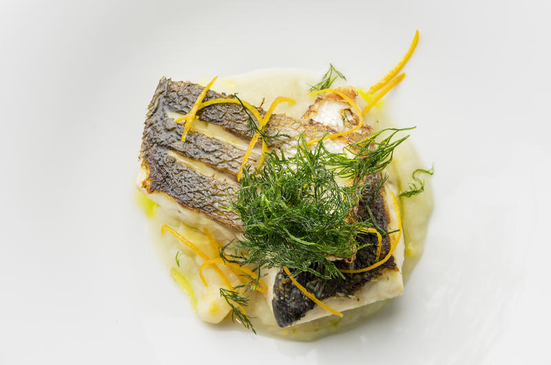 Fish dish sea bass fillet with fennel cream and citrus fruit royalty free stock photo