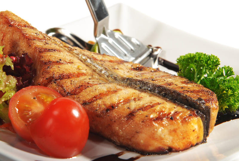 Fish Dishes - Salmon Steak royalty free stock photos