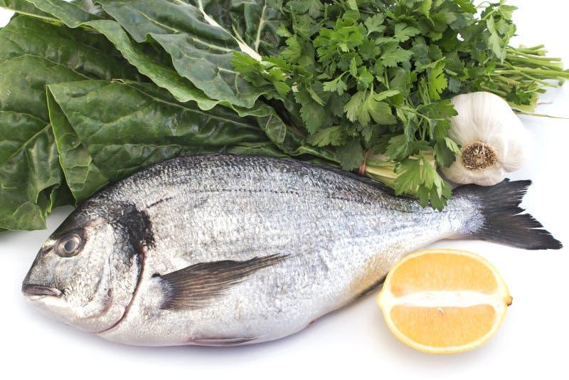 Fish dorade with swiss chard, parsley, garlic and lemon.  stock photos