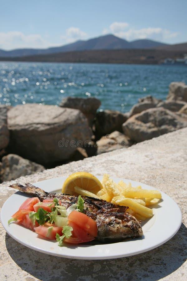 Fish dorado grill outdoors stock photo