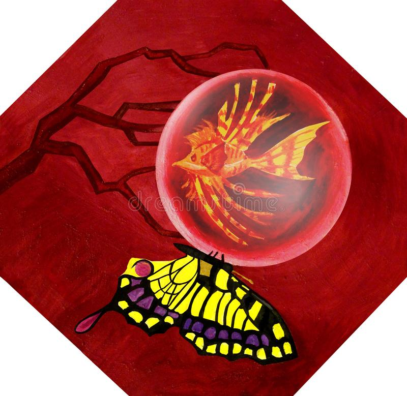 Fish in the drop and butterfly surrealism oil stock image