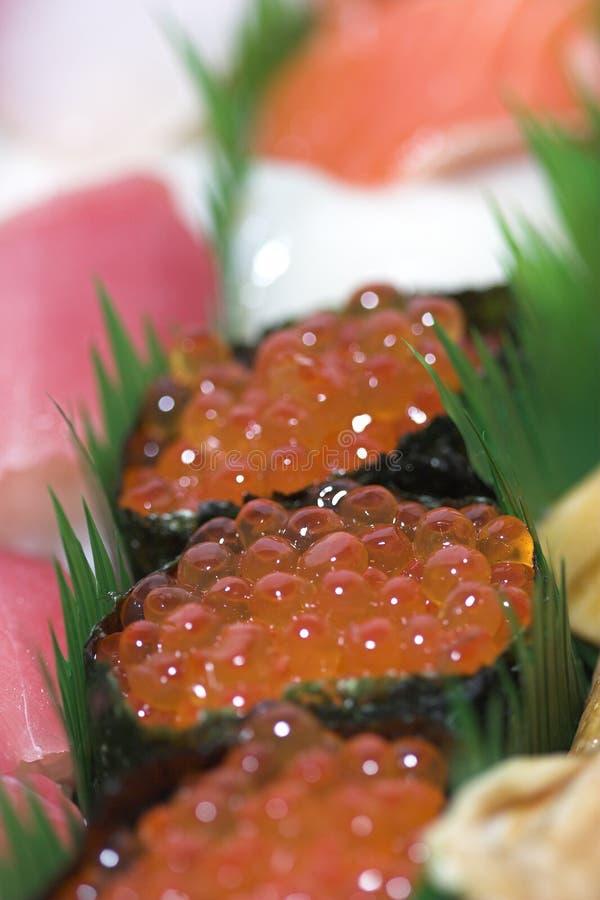Fish eggs. Close up of sashimi sushi fish eggs stock image