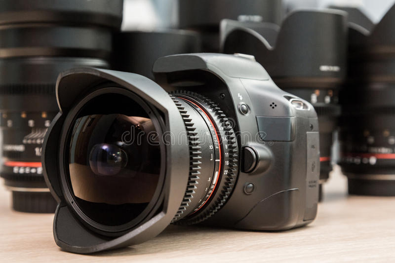 Fish eye lens mounted on a digital SLR camera.  royalty free stock images