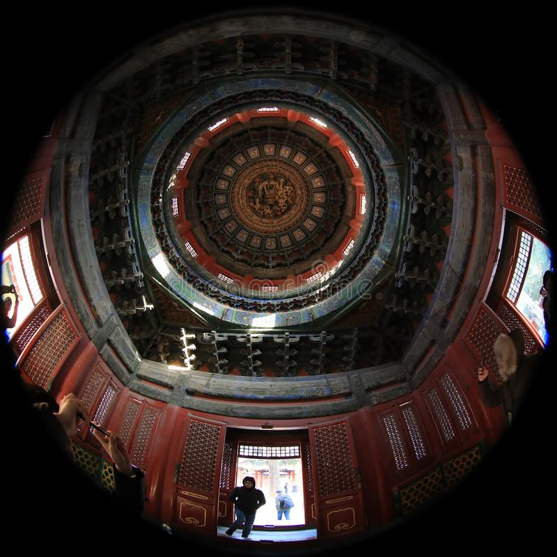 Fish-eye lens photography of Beijing Palace Museum with unique vision royalty free stock photos