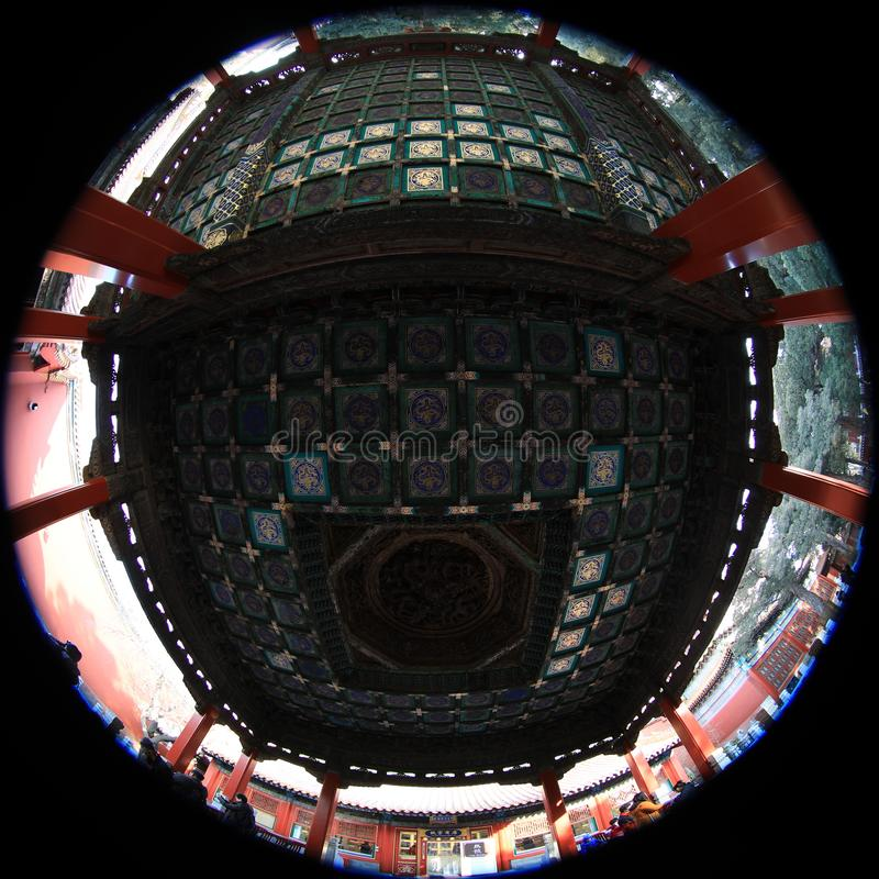Fish-eye lens photography of Beijing Palace Museum with unique vision stock photos