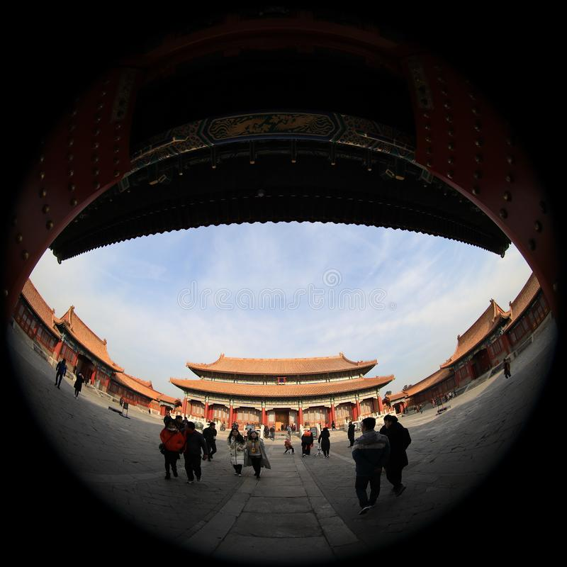 Fish-eye lens photography of Beijing Palace Museum with unique vision stock image