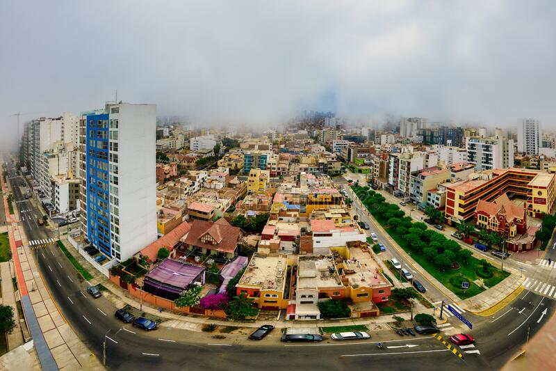 Fish-Eye of Lima capital of Peru wrapped in the typical Garùa fog.  royalty free stock photo