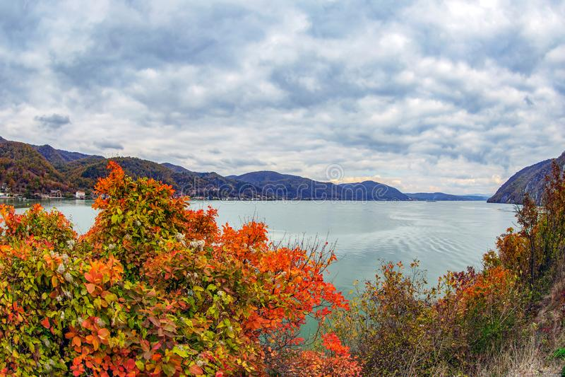 Fish eye view with autumn at the Danube Gorges royalty free stock image