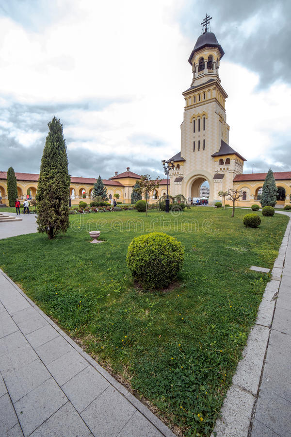 Fish eye view with Bell tower from Coronation Reunification Ca. Thedral in Alba Iulia city, Transylvania, Romania stock photography