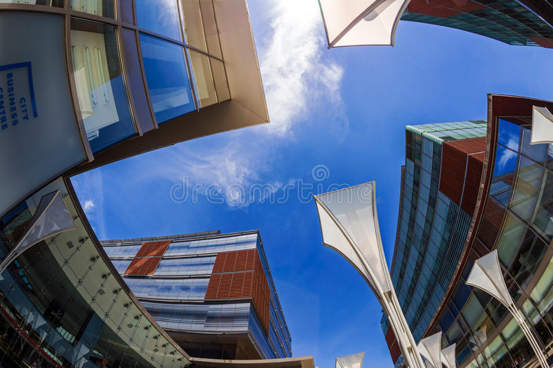Fish eye view with business buildings.Timisoara, Romania 2. TIMISOARA, ROMANIA - JUNE 23, 2015: Fish eye view with business buildings located in a new business royalty free stock photography