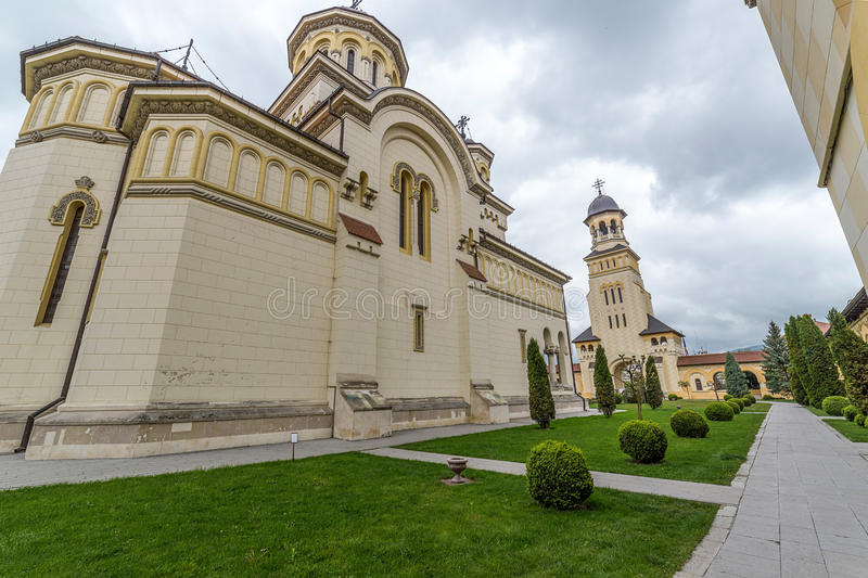 Fish eye view with Coronation Cathedral and Bell tower from Alba. Fish eye view with Coronation Reunification Cathedral and Bell tower from Alba Iulia city stock image