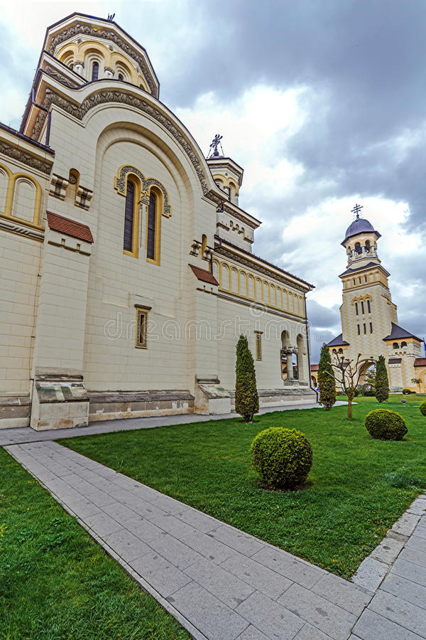 Fish eye view with Coronation Cathedral and Bell tower from Alba. Fish eye view with Coronation Reunification Cathedral and Bell tower from Alba Iulia city stock images
