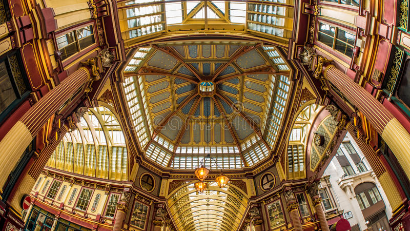 Fish eye view of Leadenhall Market in the City of London. Fish eye view of Leadenhall Market in the financial district of the City of London stock image