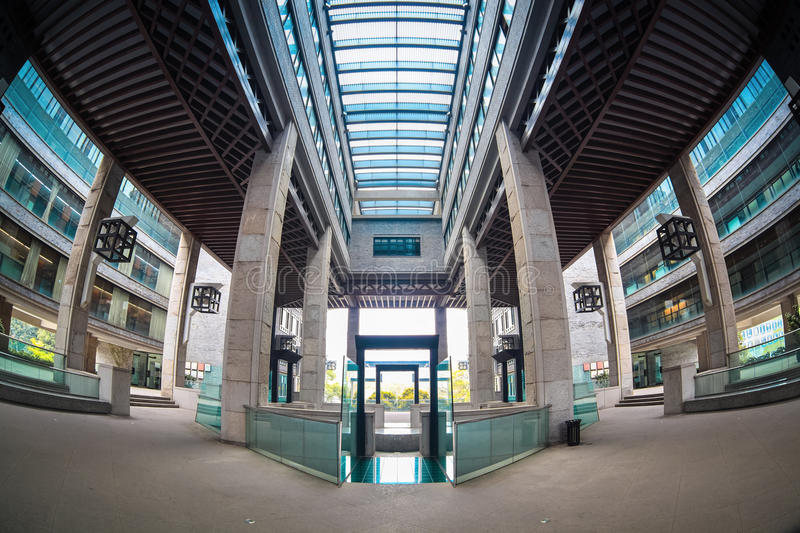 Fish-eye view of modern building. Symmetrical composition stock photos