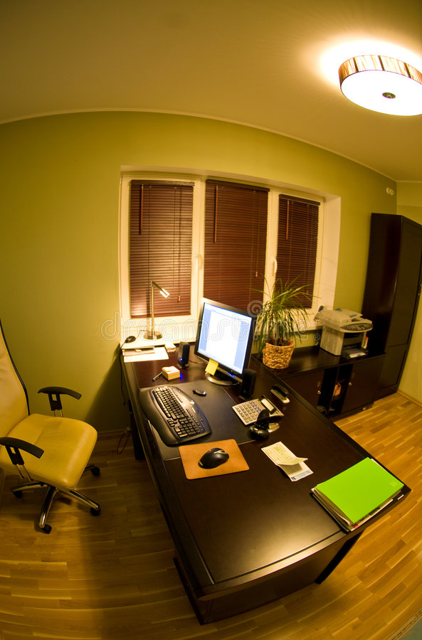Fish eye view of office desk royalty free stock images