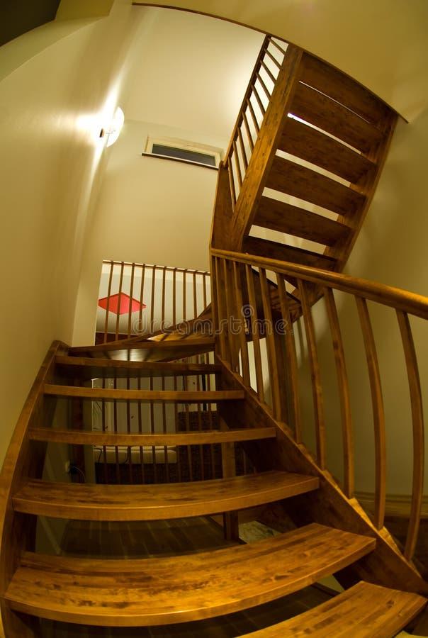 Fish eye view of staircase stock photos