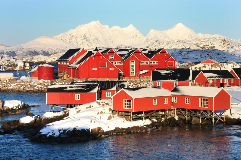 The fish factory and rorbuer of Mortsund royalty free stock image