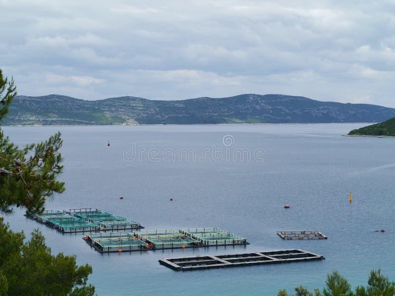 A fish farm in the Adriatic sea of Croatia stock images