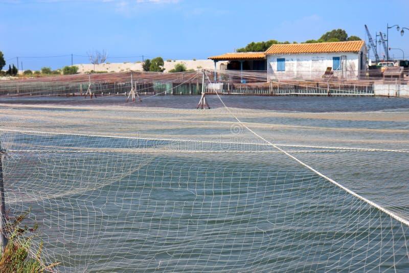 Fish farm in Greece stock photography