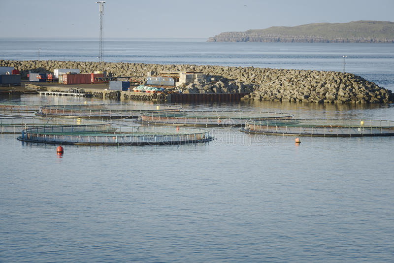 Fish farm in northern Norway royalty free stock image