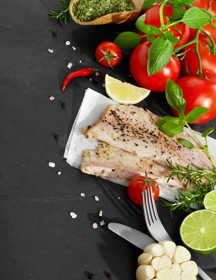 Fish fillet from above royalty free stock photography