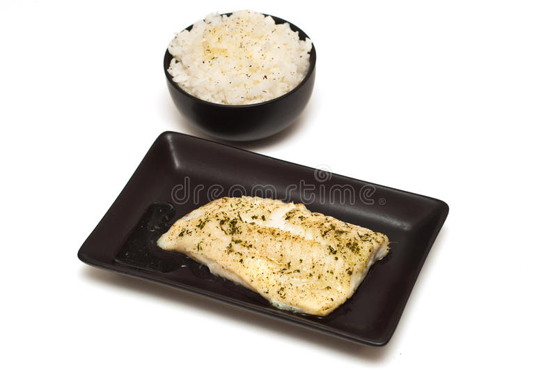 Fish fillet and rice stock photography