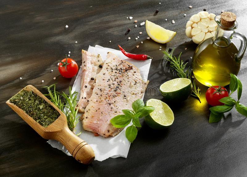 Fish fillet from above stock images