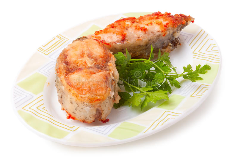 Fish fillet with tomato sauce.  stock image