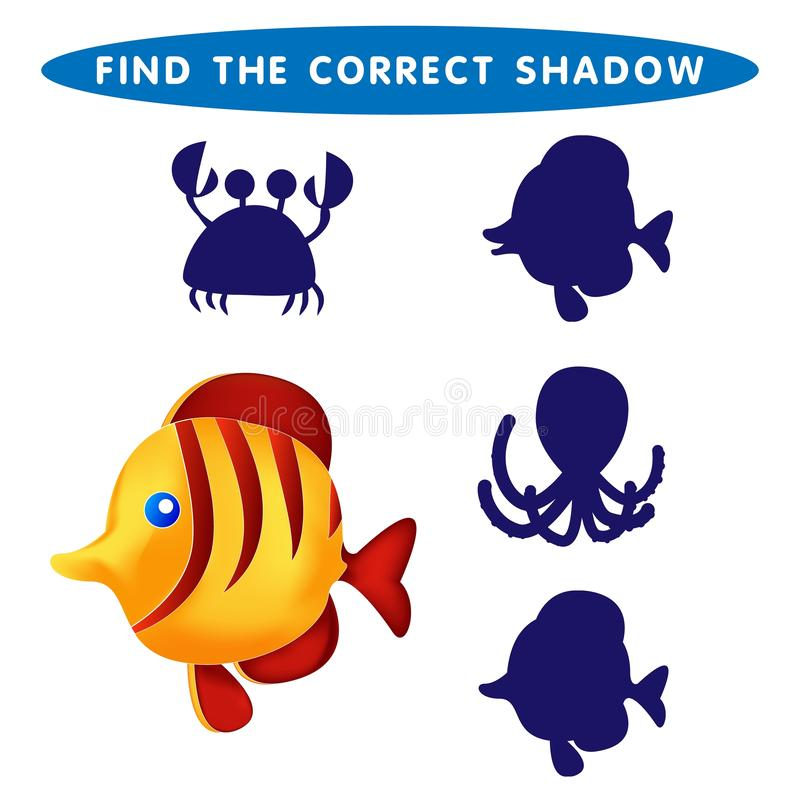 Fish Find the correct shadow kids educational puzzle game The Theme Of Mermaids vector illustration vector illustration