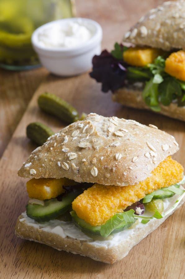 Fish finger sandwich stock images