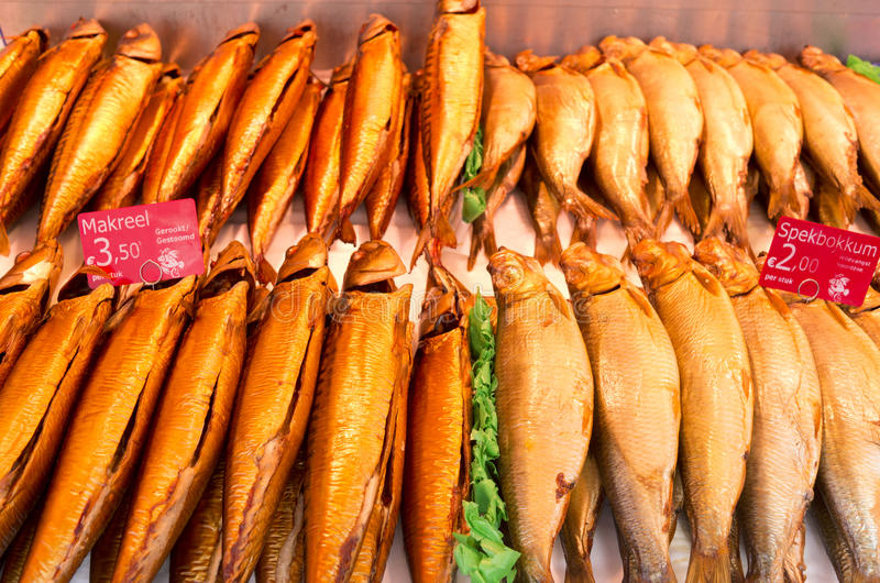 Fish in a fish stall. Fish in a fish stall at the Albert Cuyp market in Amsterdam, Netherlands royalty free stock photography