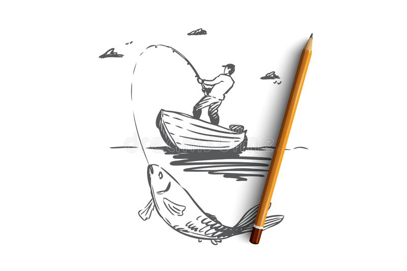Fish, fishing, catch, boat concept. Hand drawn isolated vector. Fish, fishing, catch, boat concept. Hand drawn man fishing in boat and catch big fish concept royalty free illustration