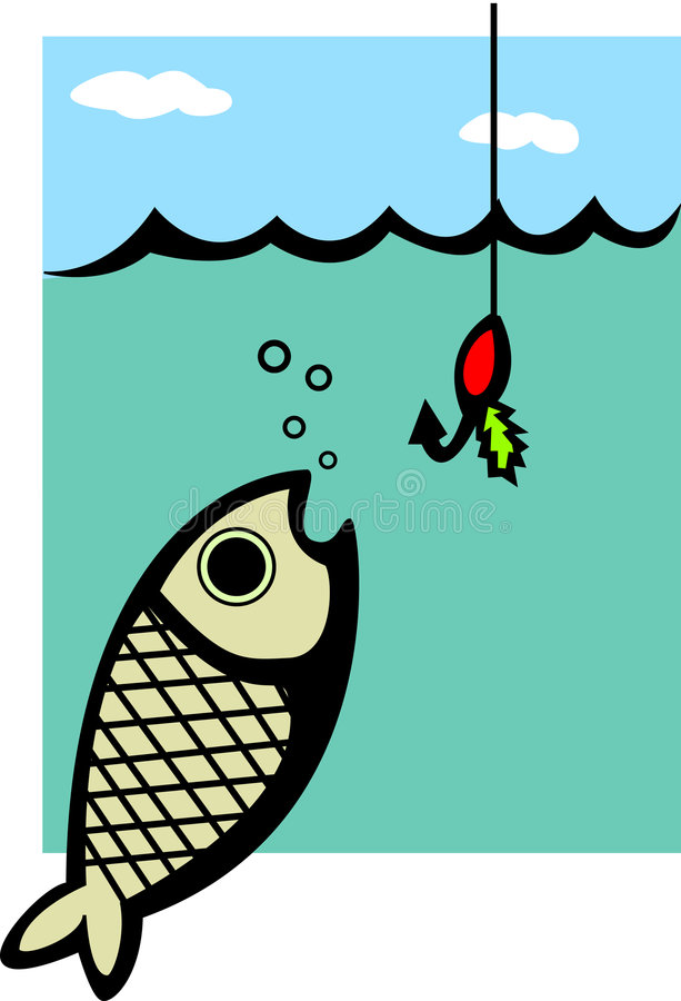 fish and fishing lure vector illustration stock illustration