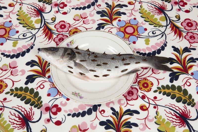 Fish flower plate rosebush thorns royalty free stock images