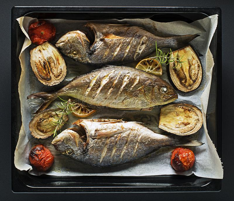 Fish food. Grilled Gilt-head bream fish with lemon, herbs, oil, vegetables and spices stock images