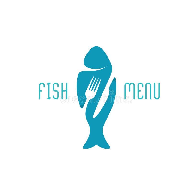 Fish food restaurant menu title logo. Silhouette of a fish. Fish food restaurant menu title logo. Silhouette of a fish with negative space style fork and knife royalty free illustration
