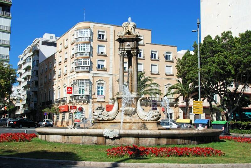 Fish fountain, Almeria. Fish fountain in the Puerta del Mar, Almeria, Almeria Province, Andalusia, Spain, Western Europe stock photos