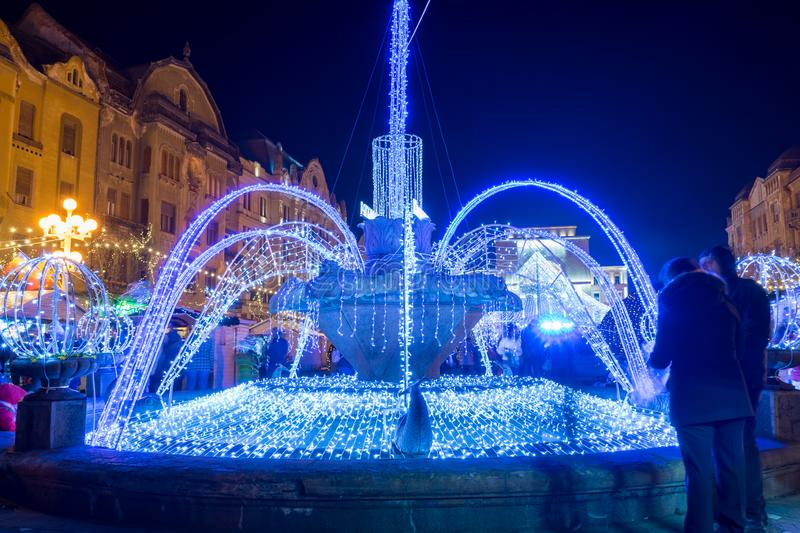 The fish fountain. Illuminated fountain known as `The fish fountain`. Long exposure royalty free stock photo