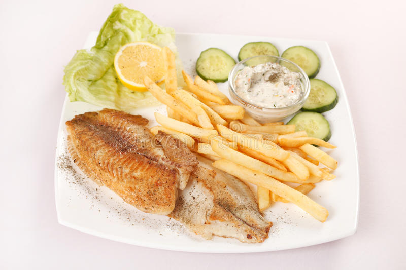 Download Fish with french fries stock image. Image of meal, lunch - 24132057