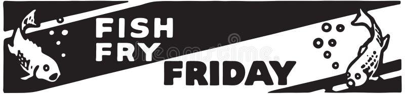 Fish Fry Friday. Retro Ad Art Banner royalty free illustration