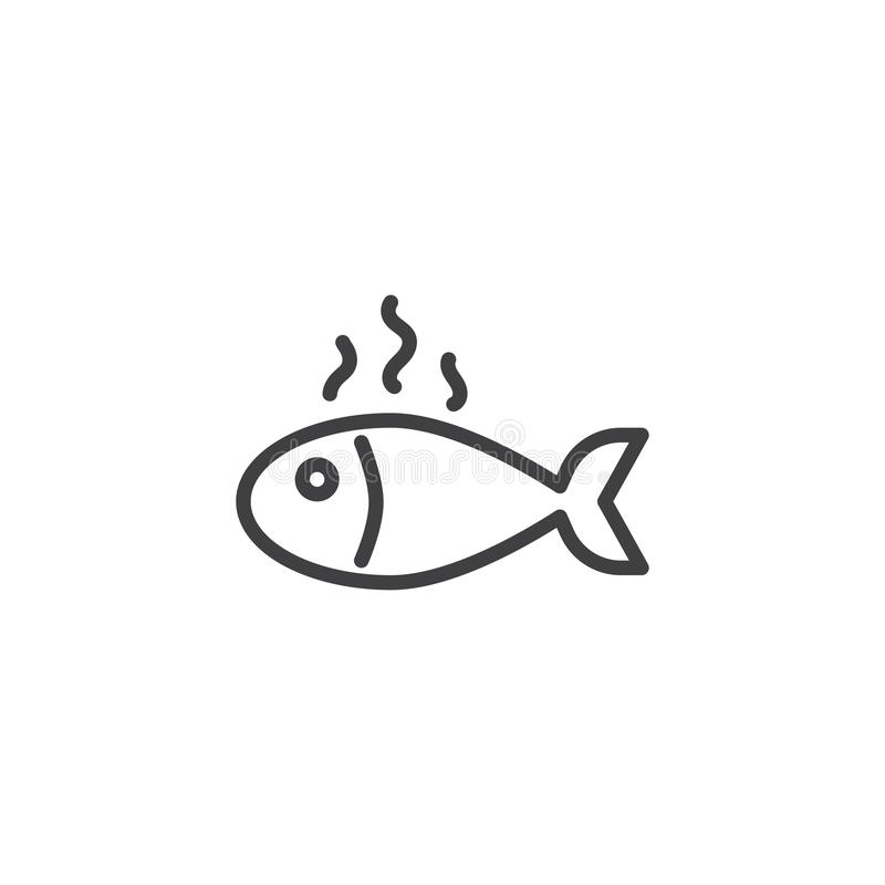 Fish fry line icon. Linear style sign for mobile concept and web design. Grilled fish outline vector icon. Seafood symbol, logo illustration. Pixel perfect stock illustration